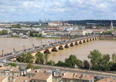 Pont de Pierre, Chaban et Pont d'Aquitaine, Bordeaux (vue depuis la Flèche)